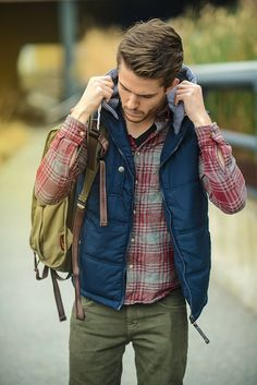 flannel, heather, military and down vest.