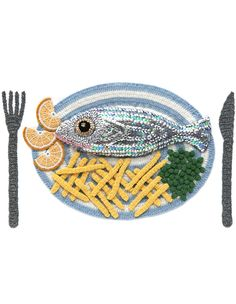 Intricately detailed fish & chips craft crocheted by Kate Jenkins. We're assuming it's using ocean-friendly sustainable seafood, of course!