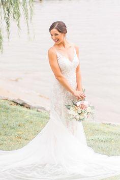 Romantic wedding dress idea - lace, fit-and-flare wedding dress with illusion neckline + nude underlay {Manda Weaver Photography}