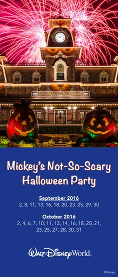 2016 dates are now available for Mickey's Not-So-Scary Halloween Party at Magic Kingdom – one of the most popular special events at Walt Disney World! Here's the full list of this year's dates. Book your Not-So-Scary Halloween vacation by contacting me for a free no-obligation quote today! #disney #halloween