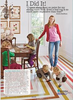 rainbow stripe painted floor