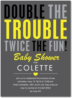 Baby Shower Invitations Make It Two - Front : Charcoal