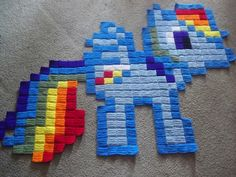 My Little Pony giant Rainbow Dash crochet rug by harmonden
