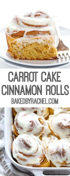 Fluffy homemade carrot cake cinnamon rolls with cream cheese icing recipe from @bakedbyrachel