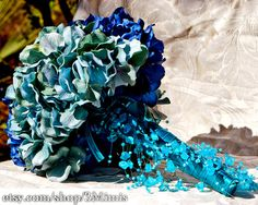 Shabby Chic Wedding Bouquet - Hydrangea Bridal Accessory via Etsy - I love the dangling foliage!