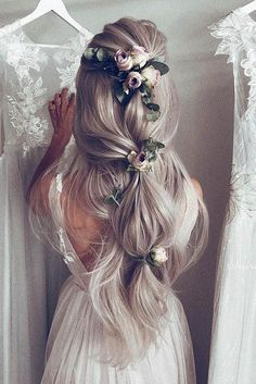 30 Romantic Rustic Wedding Hairstyles ❤️ rustic wedding hairstyles soft half up half down with roses on long blondy hair ulyana aster via instagram ❤️ See more: http://www.weddingforward.com/rustic-wedding-hairstyles/ #weddingforward #wedding #bride #weddinghairstyles