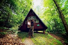 A-frame house in the woods