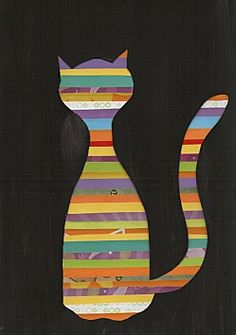 Chat - The stripes could be a collage of paper, fabric, lace, sequins, etc...