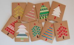 Easy DIY Holiday Crafts - Forest of Fabric - Click pic for 25 Handmade Christmas Cards Ideas. Use fabric, ribbon or washi tape. Christmas Card Crafts, Homemade Christmas Cards, Christmas Cards To Make, Christmas Wrapping, Simple Christmas, Handmade Christmas, Holiday Crafts, Christmas Trees, Christmas Fabric