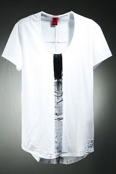 Loose Neck Paint Line T-Shirt