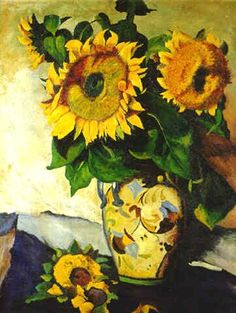 Heinrich Nauen - Sonnenblumen in bemalter Vase mit Degenerate Art, Social Art, Still Life Oil Painting, Sunflower Art, Painting Workshop, Vincent Van Gogh, Flower Of Life, Art Fair, Art World