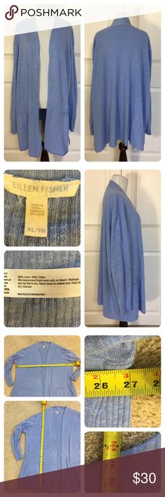 Eileen Fisher cardigan Pretty blue open front waterfall cardigan from Eileen Fisher. New with tags from a secondary market store...however the cardigan shows piling and wear. Tried to capture in pics.  Price reduced. Eileen Fisher Sweaters Cardigans