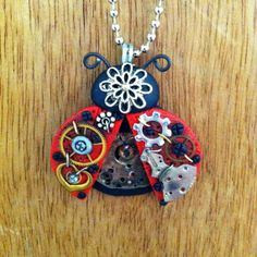 Steampunk Red Lucky Ladybug Necklace Polymer Clay by Freeheart1 on Etsy