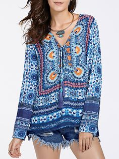 Ethnic Print Plunging Neckline Long Sleeve Tunic For Women