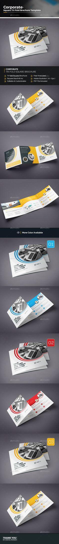 Square Tri-fold Brochure Template Vector EPS, AI Illustrator