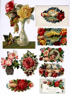 #Victorian #scrap #floral #roses #cat