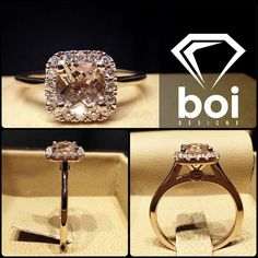 This ring was made with a beautiful cushion cut Morganite . The Morganite was placed in a tight Italian pave halo. The plain, clean shank really makes the centre pop. #diamond #diamonds #wedding #weddings #engagement #ring #rings #bride #brides #jewellery #jewelry #rose #gold #halo #morganite #diamondboi