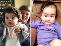 Babies With Eyebrows Drawn On Their Faces