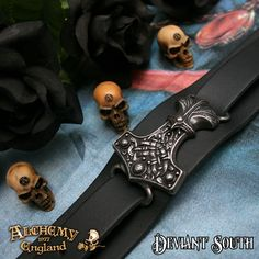 Best Seller! Alchemy Gothic A98 Thunderhammer Leather Wriststrap  Wide black leather wrist strap bearing large pewter Hammer of Thor, adjustable length, fastened with a buckle.