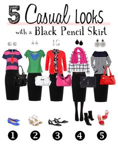 Bit Square Blog | Style, DIY, Refashioning, Jewellery: 5 Casual Looks with a Black Pencil Skirt