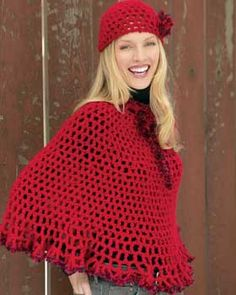 This bright, lacy poncho and cap set use Bernat Boa as accent on the edges and for an adorable floral embellishment. Shown in Bernat Soft Bouclé and Bernat Boa. Size 5.5mm (U.S. I or 9) and 6mm (U.S. J or 10) crochet hook.