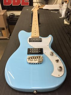 G&L Musical Instruments Here's a Fallout in Himalayan Blue, 3-ply white guard, maple neck with Clear Satin finish.