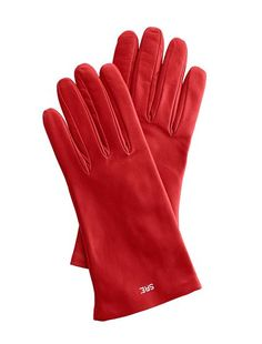 Red Leather Monogrammed Gloves.