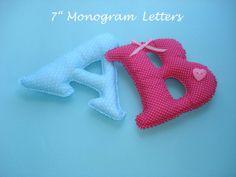 7 Monogram fabric letters for nursery room by LittleFairyCottage, $9.00