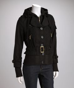 Look at this Yoki Black Hooded Coat on #zulily today!