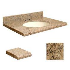 Transolid Giallo Veneziano Granite Undermount Single Sink Bathroom Vanity Top (Common: 37-In X 19-In; Actual: 37-In X 19