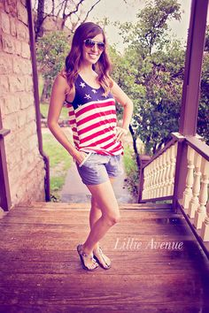 Clothes Outfit for • teens • movies • girls • women •. summer • spring • outfit ideas • dates •  Red American Pride Tank. 4th of July outfit! Shop Lillie Avenue and save 15% on outfit. www.lillieavenue.com