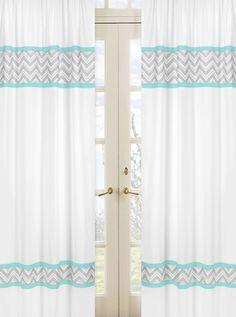 Zig Zag Chevron Turquoise, White and Gray Window Panel Curtains