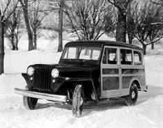 """Throwback Thursday! 1946-1965 WILLYS WAGON. America's first all-steel station wagon debuted in July 1946 as the model 463 Jeep® Station Wagon and featured a three-tone paintwork that simulated the """"woodie"""" look. The no-maintenance all-steel utility vehicle was not prone to weathering, peeling or squeaks like the old style """"woodies"""".When four-wheel drive was added in 1949, the Willys Wagon became the forerunner of the Grand Cherokee."""