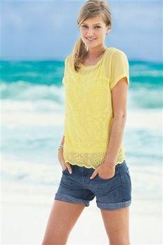 Buy Embroidered Top from the Next UK online shop Toni Garrn, Mega Sena, Boyfriend Shorts, Yellow Top, Models, Festival Fashion, Printed Shirts, Work Wear, Style Inspiration