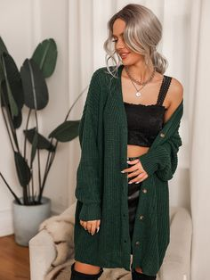 Solid Drop Shoulder Oversized Cardigan Oversized Cardigan, Sweater Cardigan, Winter Outfits, Kids Outfits, Fashion News, Fashion Outfits, Cool Graphic Tees, Green Pattern