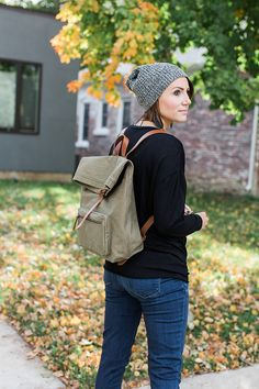 Outfit Making Accessories + Casual Fall Style (includes statement sneakers, beanie, backpack, leather earrings, chokers, and rolled denim) Maternity Style