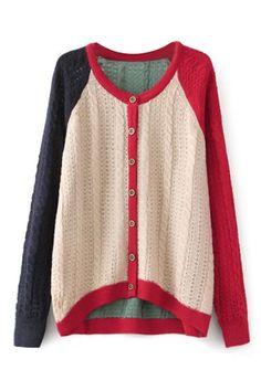 ROMWE   ROMWE Color Block Buttoned Asymmetric Cardigan, The Latest Street Fashion