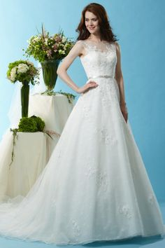 Style * BL128 * » Wedding Dresses » Black Label 2015 Spring Collection » by Eden Bridals » Available Colours : Ivory, Ivory/Champagne ~ Shown Sweetheart Bodice with Sheer Boat neckline & Satin Belt at waist.