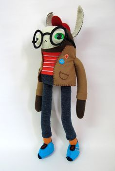 Love this guy! Stylish Rabbit with Lucky Red Cap Made to Order by catrabbitplush, $145.00