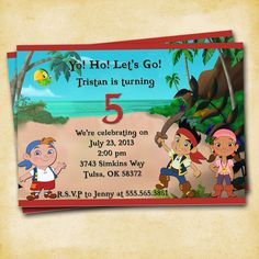 Jake and the Neverland Pirates Birthday Party - Printable Custom Invitation. $10.00, via Etsy.