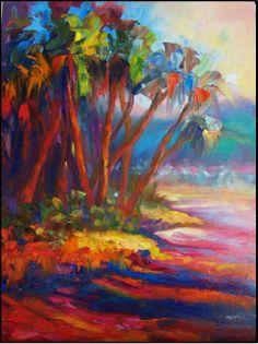 Paint Dance: Maui Magic, 18x24 paintings of tropical islands, Hawaii, Maui, palm trees