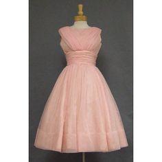 CHarming Pink Chiffon Early 1960's COcktail Dress w/ Gathers ...