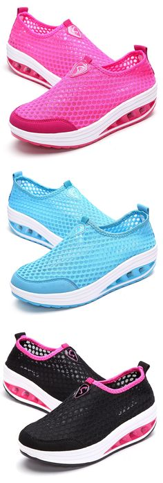 bcef74201a2a9 Mesh Breathable Pure Color Slip On Athletic Platform Casual Sport Shake  Shoes