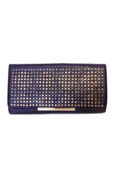 """This gorgeous deep plum purple clutch features brass and gold toned studs on the front of the clutch Button snap closure and inner zip pocket. Pair this with any outfit for a glamorous look! Dress this up or down.    Measures approx. 11.5"""" x 6.5""""   Purple Studded Clutch Bags - Clutches - Evening Las Vegas"""
