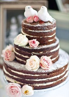 THE 20 PRETTIEST WEDDING CAKES: #8. This frosting free cake