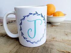 personalized initial calligraphy mug with color