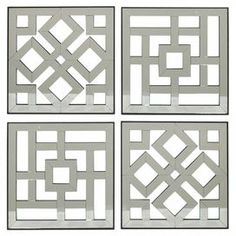 Set of 4 wood wall panels with lattice details. Product: wall art setConstruction Material: Wood and mirrored glassColor: SilverDimensions: 16 H x 16 W x D each