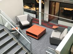 Students can study anywhere! This nook tucked near a stairwell is a perfect example of a quiet space where students can touch down in between classes.