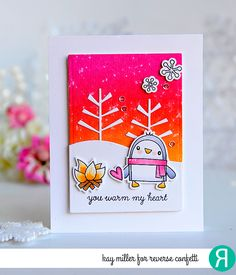 Card by Kay Miller. Reverse Confetti stamp set: S'more Love. Confetti Cuts: S'more Love and Branch Out. Valentine's Day card. Anniversary Card. Penguins.