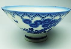 Tea cup Blue & White Vintage Chinese Porcelain Children Playing Mint Sake Soup
